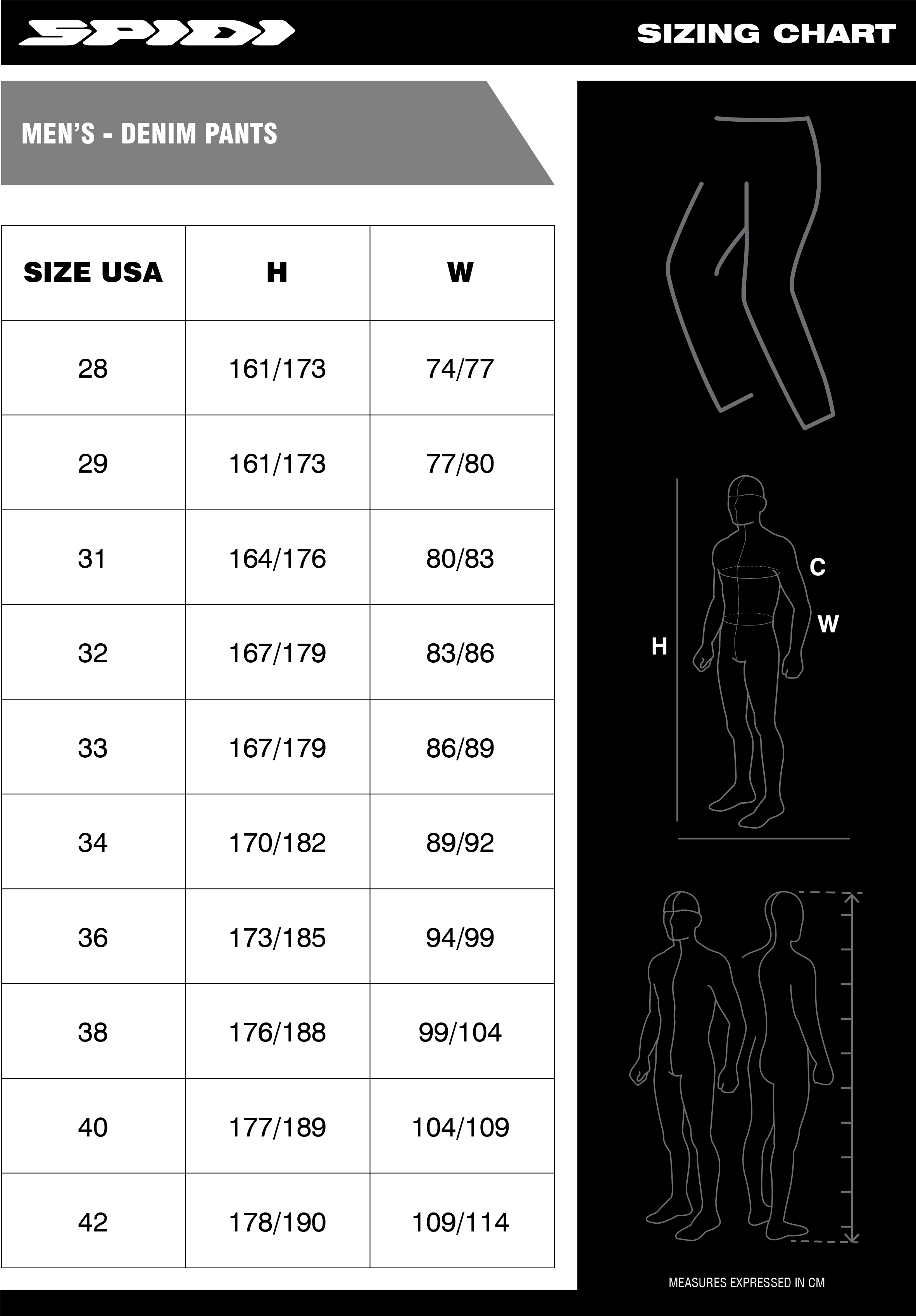 SPIDI Sizing Chart Mens Denim_Pants