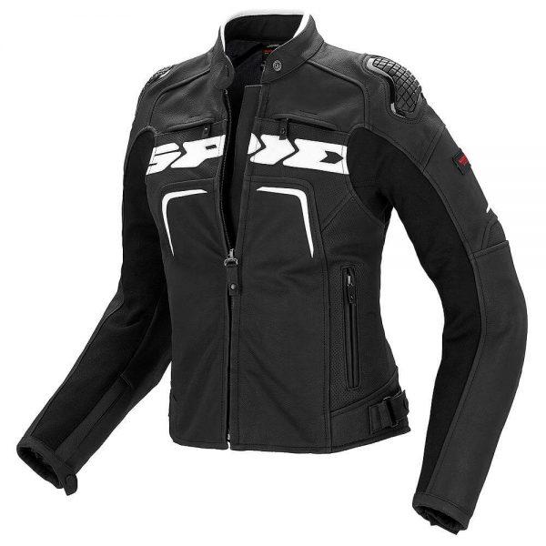 Evorider Ladies Leather Black/White Jacket